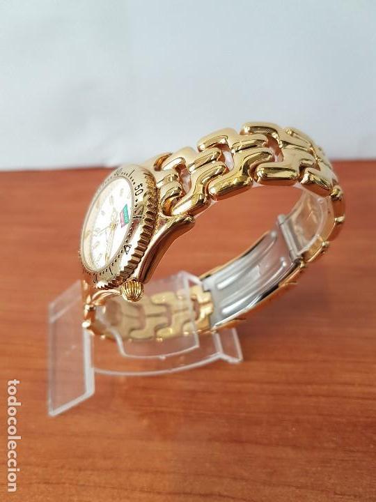 Relojes: Reloj de señora Orient con calendario de cuarzo chapado de oro, correa chapada de oro original - Foto 6 - 122653683