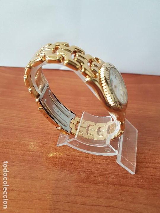 Relojes: Reloj de señora Orient con calendario de cuarzo chapado de oro, correa chapada de oro original - Foto 7 - 122653683