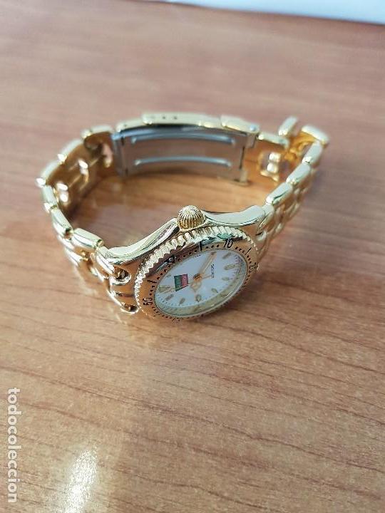 Relojes: Reloj de señora Orient con calendario de cuarzo chapado de oro, correa chapada de oro original - Foto 8 - 122653683