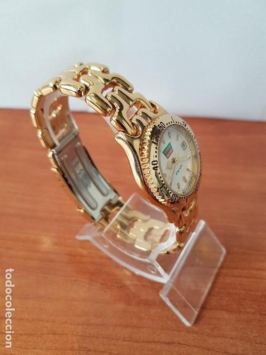 Relojes: Reloj de señora Orient con calendario de cuarzo chapado de oro, correa chapada de oro original - Foto 11 - 122653683