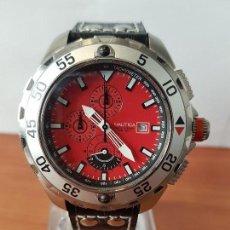 Relógios: RELOJ CABALLERO NAUTICA DE CUARZO CRONÓGRAFO EN ACERO CORONA DE ROSCA, CORREA DE CUERO NUEVA SIN USO. Lote 122690731