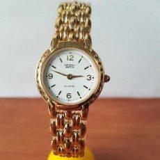 Relojes: RELOJ DE SEÑORA ORIENT CHAPADO DE ORO CON PULSERA CHAPADA DE ORO ORIGINAL ESFERA BLANCA, DE STOCK . Lote 122706519