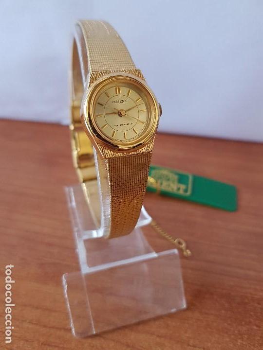 Relojes: Reloj señora (Vintage) Orient cuarzo chapado de oro con correa de Orient original chapada de oro - Foto 2 - 122763183