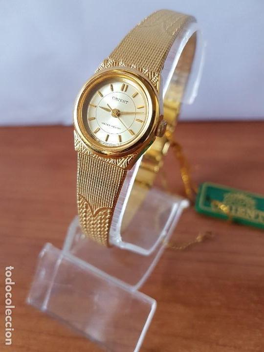 Relojes: Reloj señora (Vintage) Orient cuarzo chapado de oro con correa de Orient original chapada de oro - Foto 3 - 122763183