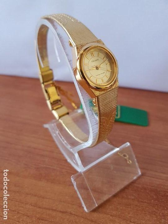 Relojes: Reloj señora (Vintage) Orient cuarzo chapado de oro con correa de Orient original chapada de oro - Foto 4 - 122763183