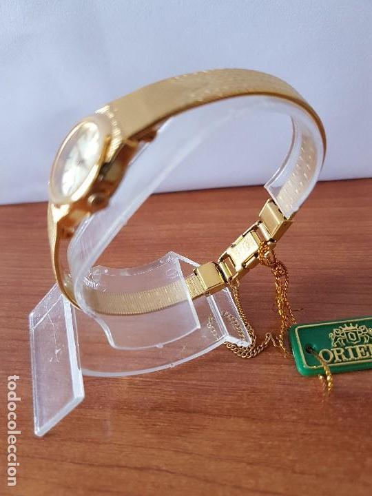Relojes: Reloj señora (Vintage) Orient cuarzo chapado de oro con correa de Orient original chapada de oro - Foto 6 - 122763183