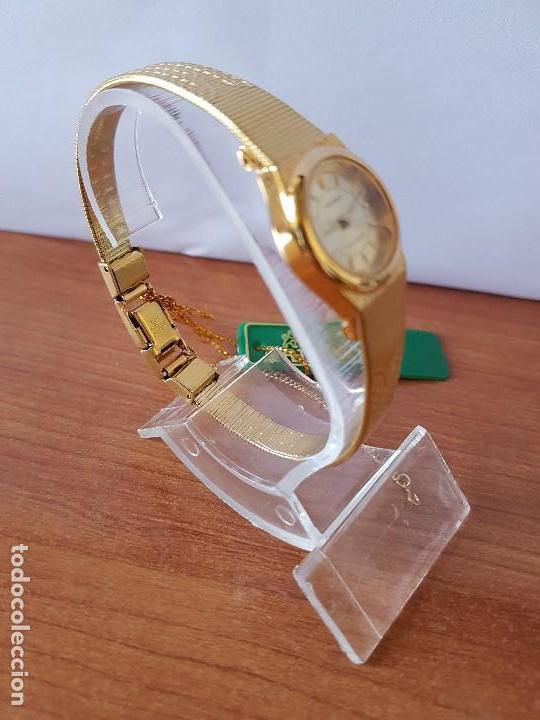 Relojes: Reloj señora (Vintage) Orient cuarzo chapado de oro con correa de Orient original chapada de oro - Foto 8 - 122763183