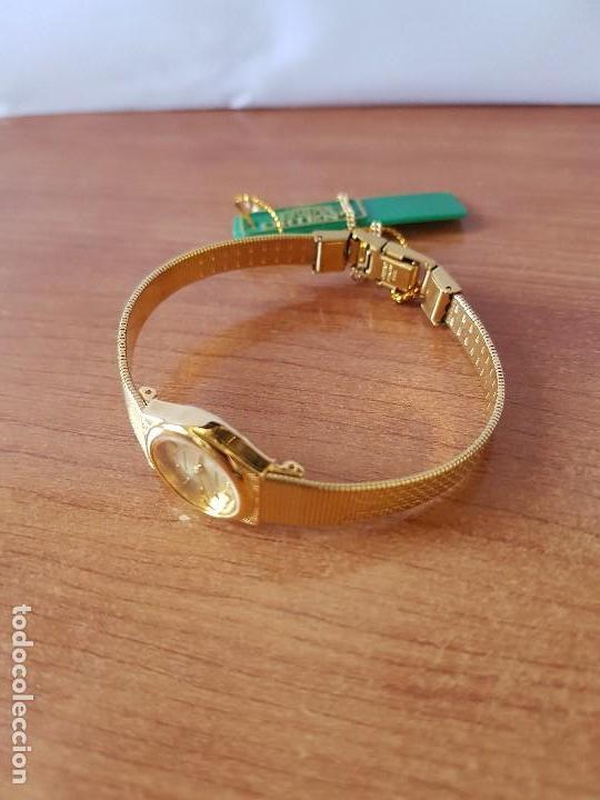 Relojes: Reloj señora (Vintage) Orient cuarzo chapado de oro con correa de Orient original chapada de oro - Foto 9 - 122763183