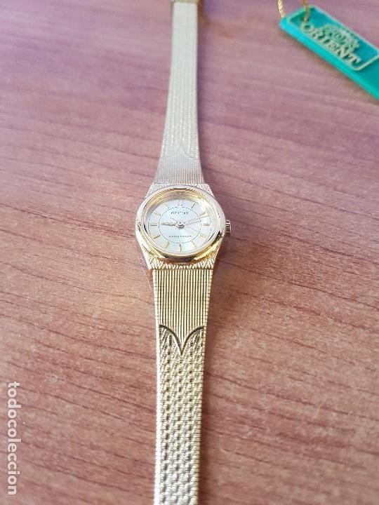 Relojes: Reloj señora (Vintage) Orient cuarzo chapado de oro con correa de Orient original chapada de oro - Foto 12 - 122763183