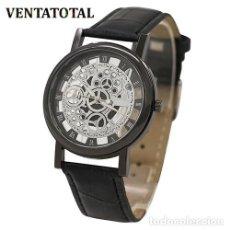 Relojes: PRECIOSO Y LUJOSO RELOJ DE ALEACION DE PLATA DE ESFERA DE ESQUELETO PULSERA NEGRA - Nº11. Lote 125138559