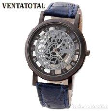 Relojes: PRECIOSO Y LUJOSO RELOJ DE ALEACION DE PLATA DE ESFERA DE ESQUELETO PULSERA AZUL - Nº29. Lote 125139163