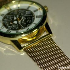 Relojes: RELOJ PULSERA MALLA COLOR ORO.. Lote 175292707