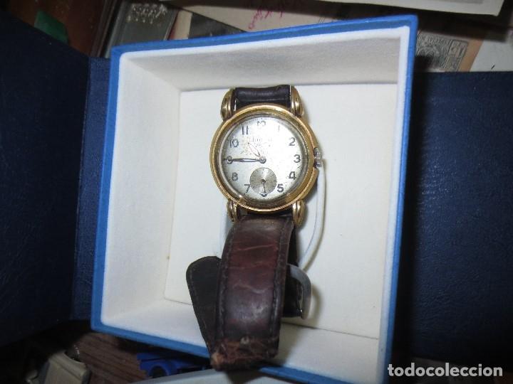 Relojes: MARCA HUMA RELOJ ANTIGUO PULSERA CABALLERO CHAPADO EN ORO CONTRASTE RARO FUNCIONANDO - Foto 6 - 128600183