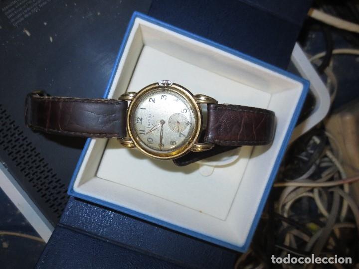 Relojes: MARCA HUMA RELOJ ANTIGUO PULSERA CABALLERO CHAPADO EN ORO CONTRASTE RARO FUNCIONANDO - Foto 7 - 128600183