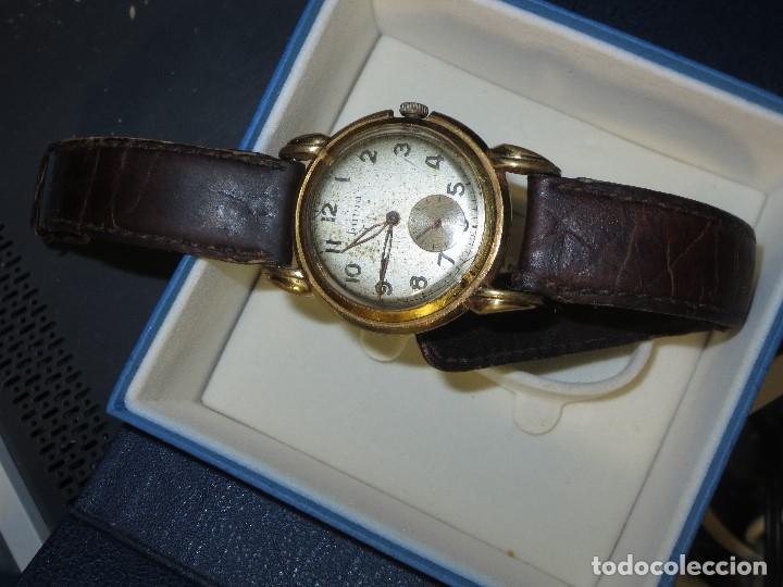 Relojes: MARCA HUMA RELOJ ANTIGUO PULSERA CABALLERO CHAPADO EN ORO CONTRASTE RARO FUNCIONANDO - Foto 5 - 128600183