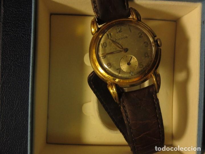 Relojes: MARCA HUMA RELOJ ANTIGUO PULSERA CABALLERO CHAPADO EN ORO CONTRASTE RARO FUNCIONANDO - Foto 3 - 128600183