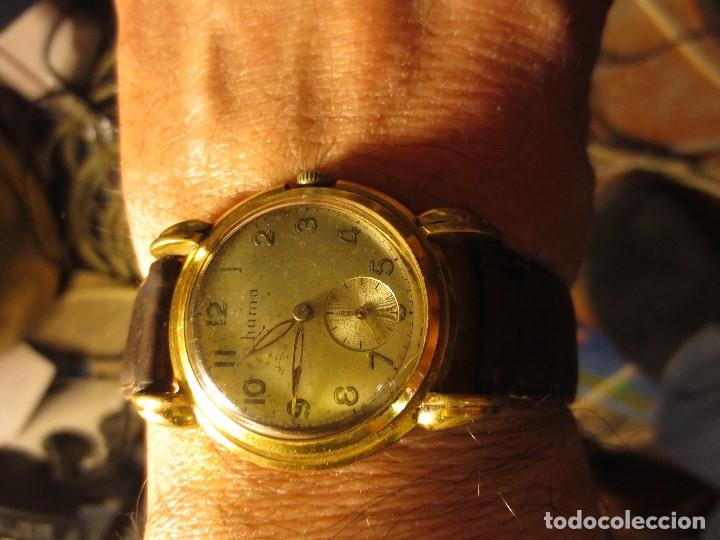 MARCA HUMA RELOJ ANTIGUO PULSERA CABALLERO CHAPADO EN ORO CONTRASTE RARO FUNCIONANDO (Relojes - Relojes Actuales - Otros)