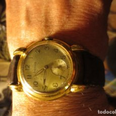 Relojes: MARCA HUMA RELOJ ANTIGUO PULSERA CABALLERO CHAPADO EN ORO CONTRASTE RARO FUNCIONA. Lote 128600183