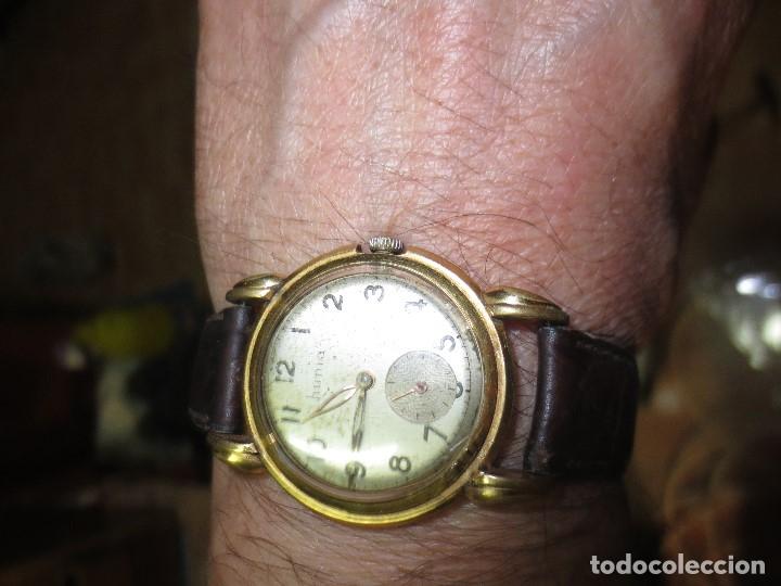 Relojes: MARCA HUMA RELOJ ANTIGUO PULSERA CABALLERO CHAPADO EN ORO CONTRASTE RARO FUNCIONANDO - Foto 4 - 128600183