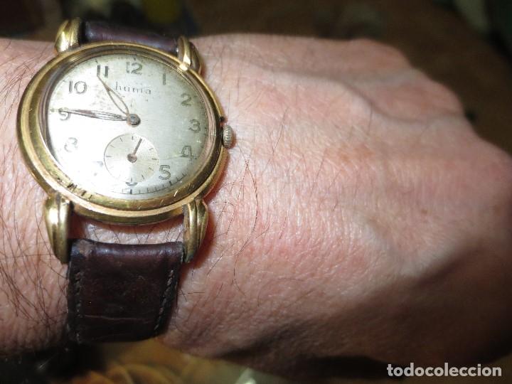 Relojes: MARCA HUMA RELOJ ANTIGUO PULSERA CABALLERO CHAPADO EN ORO CONTRASTE RARO FUNCIONANDO - Foto 8 - 128600183