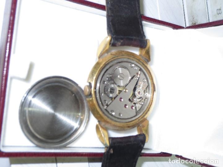 Relojes: MARCA HUMA RELOJ ANTIGUO PULSERA CABALLERO CHAPADO EN ORO CONTRASTE RARO FUNCIONANDO - Foto 9 - 128600183