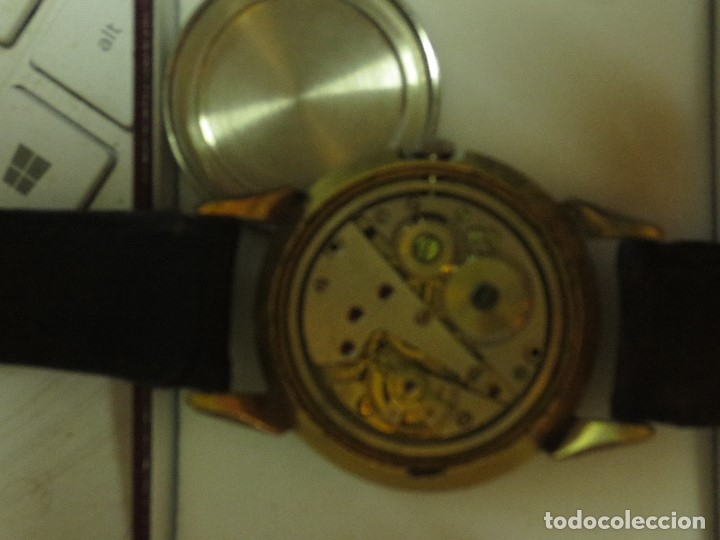 Relojes: MARCA HUMA RELOJ ANTIGUO PULSERA CABALLERO CHAPADO EN ORO CONTRASTE RARO FUNCIONANDO - Foto 11 - 128600183