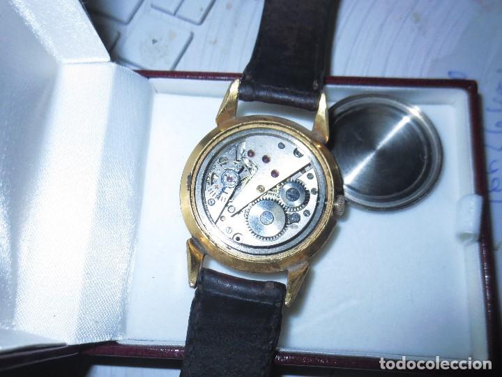 Relojes: MARCA HUMA RELOJ ANTIGUO PULSERA CABALLERO CHAPADO EN ORO CONTRASTE RARO FUNCIONANDO - Foto 15 - 128600183