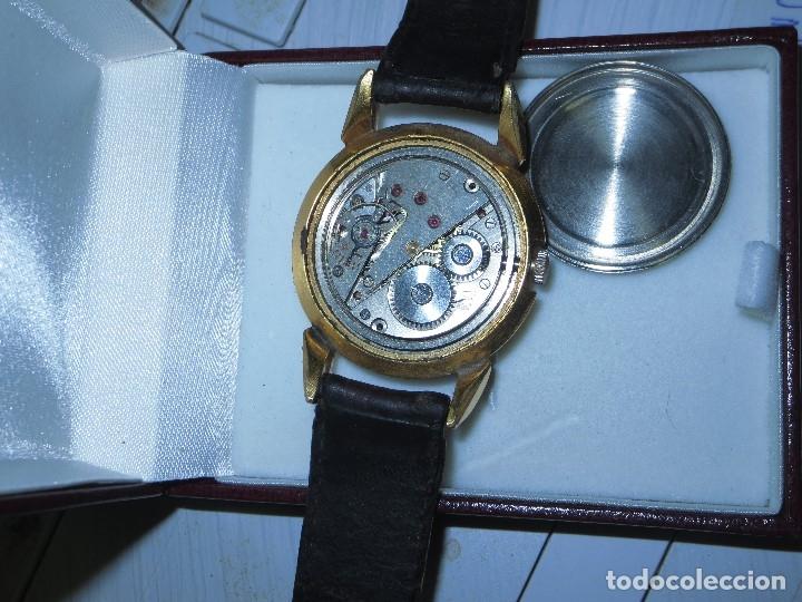 Relojes: MARCA HUMA RELOJ ANTIGUO PULSERA CABALLERO CHAPADO EN ORO CONTRASTE RARO FUNCIONANDO - Foto 12 - 128600183