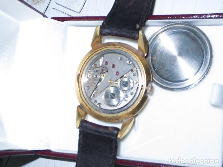 Relojes: MARCA HUMA RELOJ ANTIGUO PULSERA CABALLERO CHAPADO EN ORO CONTRASTE RARO FUNCIONANDO - Foto 17 - 128600183