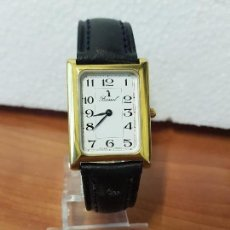 Relojes: RELOJ UNISEX CUARZO BASSEL CHAPADO DE ORO 10 MICRAS, TAPA TRASERA DE ACERO, CORREA DE CUERO NEGRA. Lote 129061659