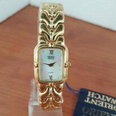 Relojes: RELOJ SEÑORA DE CUARZO ORIENT CHAPADO DE ORO CON CORREA CHAPADA DE ORO ORIGINAL ORIENT NUEVO . Lote 129105179
