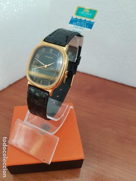 Relojes: Reloj caballero (Vintage) ORIENT cuarzo chapado de oro con correa de cuero negra, reloj nuevo. - Foto 2 - 129087235