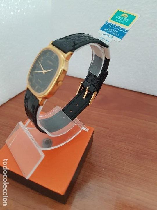 Relojes: Reloj caballero (Vintage) ORIENT cuarzo chapado de oro con correa de cuero negra, reloj nuevo. - Foto 3 - 129087235