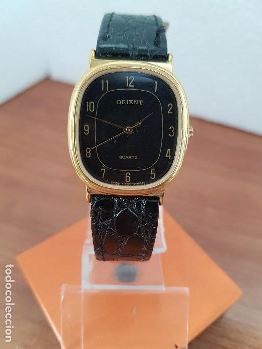 Relojes: Reloj caballero (Vintage) ORIENT cuarzo chapado de oro con correa de cuero negra, reloj nuevo. - Foto 4 - 129087235