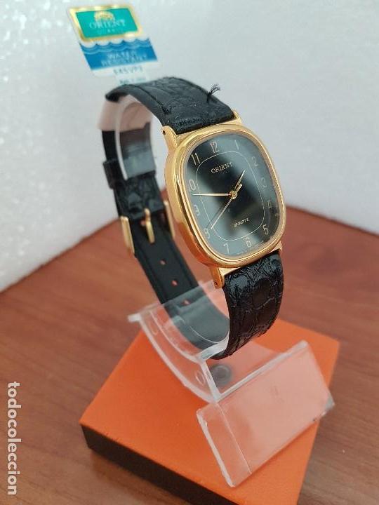 Relojes: Reloj caballero (Vintage) ORIENT cuarzo chapado de oro con correa de cuero negra, reloj nuevo. - Foto 5 - 129087235