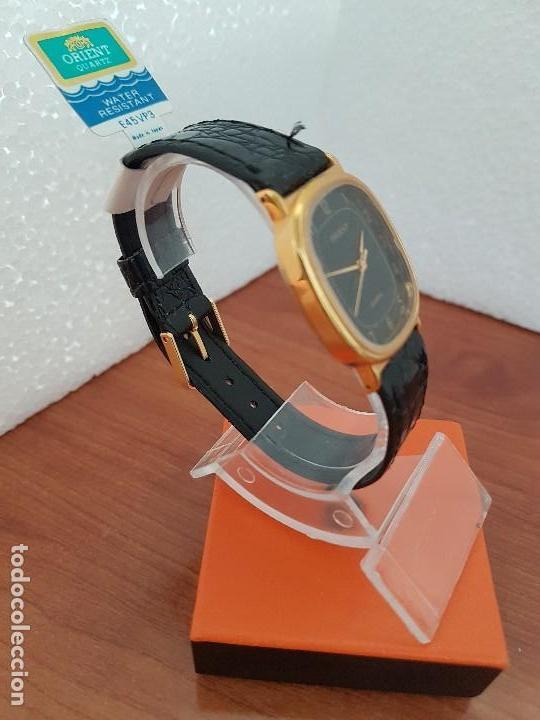 Relojes: Reloj caballero (Vintage) ORIENT cuarzo chapado de oro con correa de cuero negra, reloj nuevo. - Foto 6 - 129087235