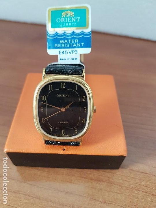 Relojes: Reloj caballero (Vintage) ORIENT cuarzo chapado de oro con correa de cuero negra, reloj nuevo. - Foto 7 - 129087235