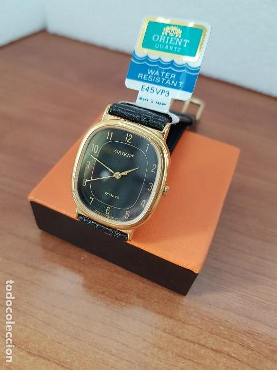 Relojes: Reloj caballero (Vintage) ORIENT cuarzo chapado de oro con correa de cuero negra, reloj nuevo. - Foto 8 - 129087235