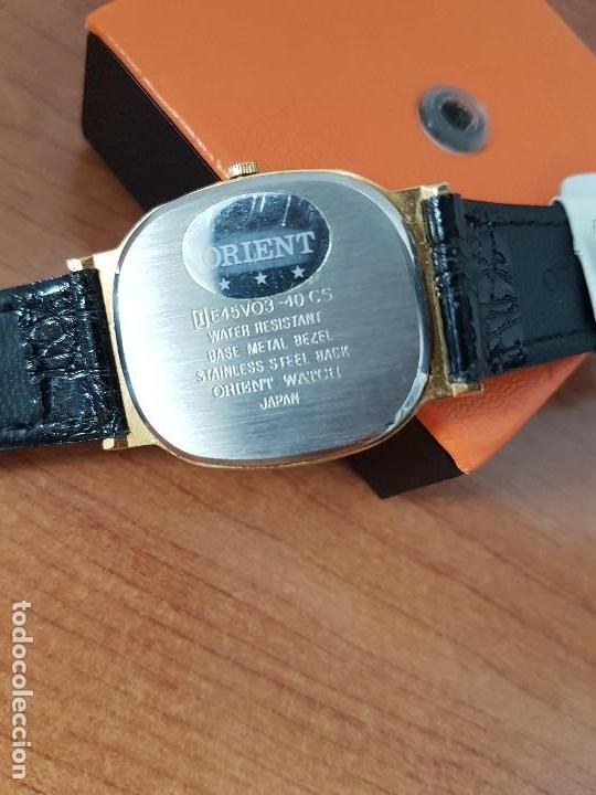 Relojes: Reloj caballero (Vintage) ORIENT cuarzo chapado de oro con correa de cuero negra, reloj nuevo. - Foto 10 - 129087235