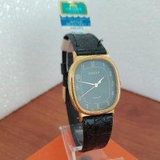 Relojes: RELOJ CABALLERO (VINTAGE) ORIENT CUARZO CHAPADO DE ORO CON CORREA DE CUERO NEGRA, RELOJ NUEVO. . Lote 129087235