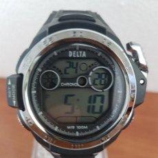 Relojes: RELOJ CABALLERO CUARZO DIGITAL DELTA RELOJ GRANDE CAJA SILICONA Y ACERO CON CORREA DE SILICONA NEGRA. Lote 129172543