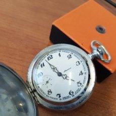 Relojes: RELOJ DE BOLSILLO RUSO MARCA MOLNIJA CON SEGUNDERO A LAS 9 HORAS CON CAJA DE ACERO Y REPUJADA. Lote 129215951