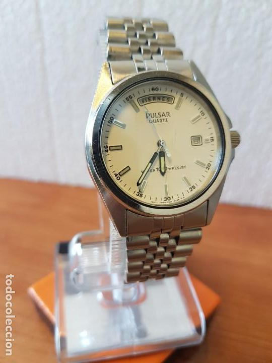 Relojes: Reloj caballero (Vintage) PULSAR cuarzo en acero, doble calendario a las tres y doce, correa acero. - Foto 6 - 130041003