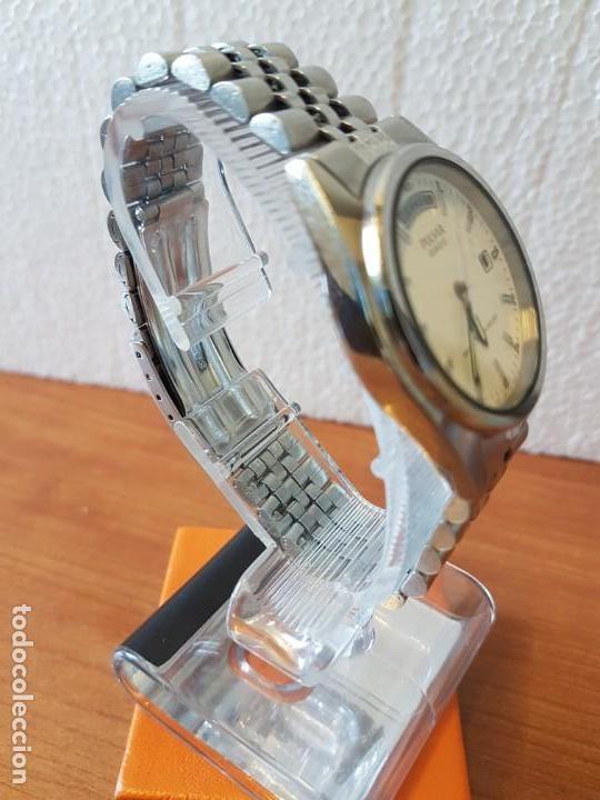 Relojes: Reloj caballero (Vintage) PULSAR cuarzo en acero, doble calendario a las tres y doce, correa acero. - Foto 7 - 130041003