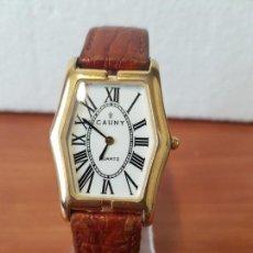 Relojes - Reloj caballero CAUNY de cuarzo chapado de oro con correa de cuero marrón segunda mano - 130205123