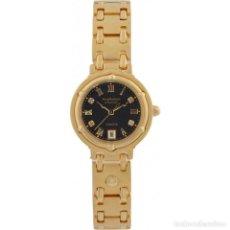 Relojes: RELOJ DE SEÑORA KRUG-BAUMEN 5118DL CHARLESTON 4 DIAMOND NEGRO Y ORO NUEVO Y EN CAJA. Lote 130692734