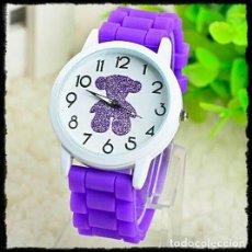 Relojes: BONITO RELOJ CON OS|TO EN LA ESFERA Y CORREA DE SILICONA. NUEVO. Lote 130711174