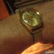 Relojes: EXCEPCIONAL RARO Y ANTIGUO RELOJ CERNOS CHAPADO EN ORO 17 RUBIES CALENDARIO FUNCIONA ANTICHOC. Lote 131080656