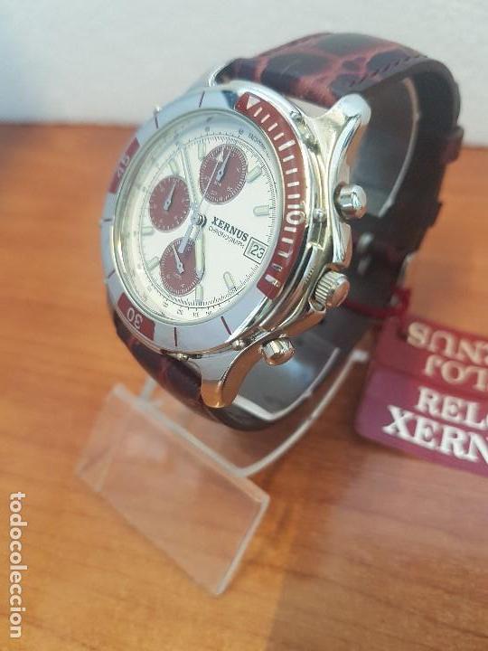 Relojes: Reloj caballero Xernus acero cronografo, bisel giratorio, calendario a las tres, correa cuero nueva - Foto 2 - 133161038
