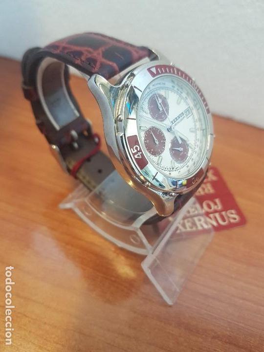 Relojes: Reloj caballero Xernus acero cronografo, bisel giratorio, calendario a las tres, correa cuero nueva - Foto 3 - 133161038
